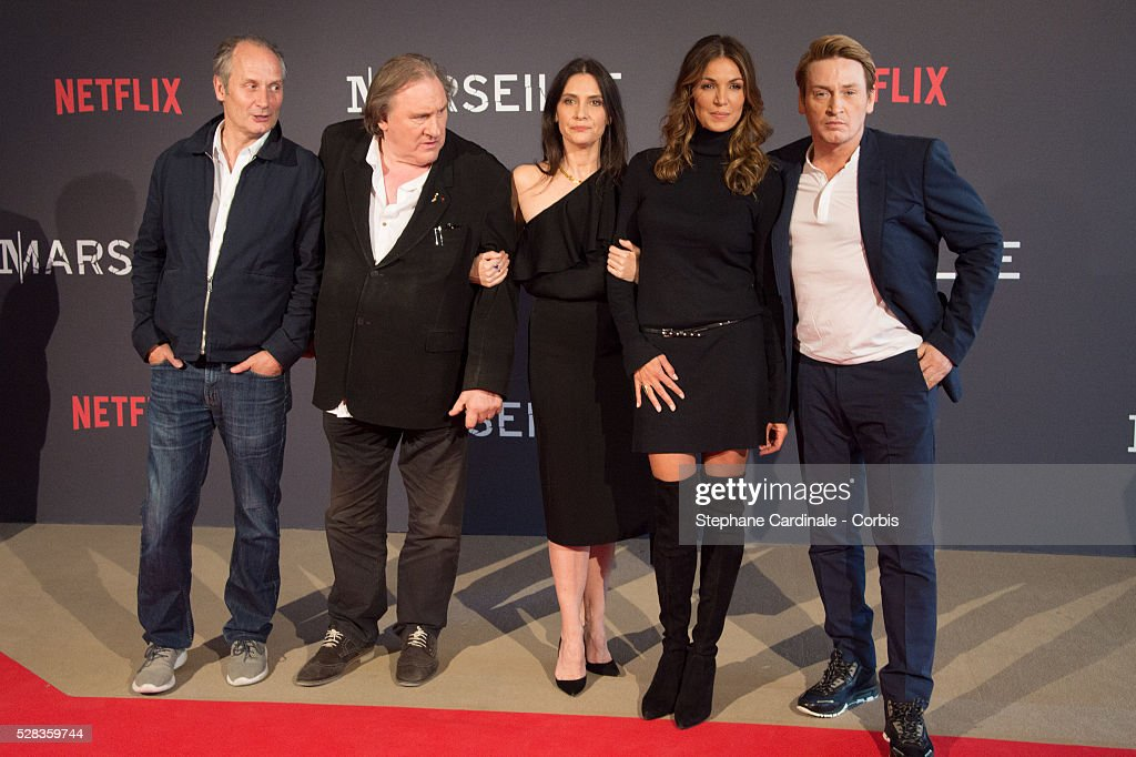 Hyppolite Girardot, Geraldine Pailhas, Gerard Depardieu, Nadia Fares and Benoit Magimel attend the 'Marseille' Netflix TV Serie World Premiere At Palais Du Pharo In Marseille, on May 4, 2016 in Marseille, France.