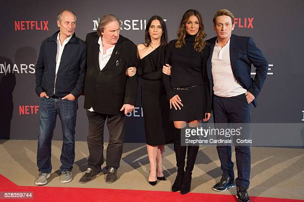 Hyppolite Girardot Geraldine Pailhas Gerard Depardieu Nadia Fares and Benoit Magimel attend the 'Marseille' Netflix TV Serie World Premiere At Palais...