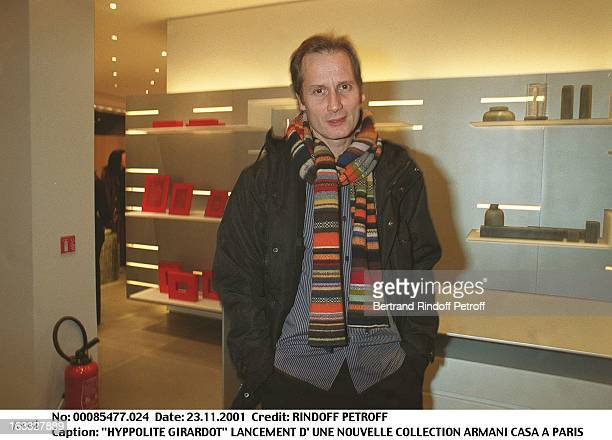 Hyppolite Girardot launching of a new Armani Casa Collection in Paris scarf
