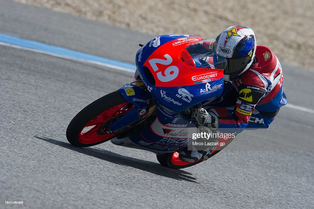 Hyuga Watanabe of Japan and Team La Fonte Tascaracing heads down a straight during the Moto2 and Moto3 Tests In Jerez - Day 3 at Circuito de Jerez on March 20, 2013 in Jerez de la Frontera, Spain.