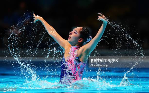 Hyun Ji Lim of Korea competes in the Synchronized Swimming Solo Technical preliminary round on day one of the 15th FINA World Championships at Palau...