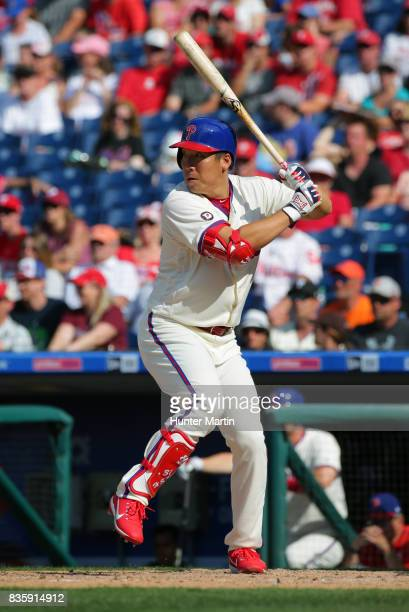 Hyun Soo Kim of the Philadelphia Phillies bats during a game against the New York Mets at Citizens Bank Park on August 13 2017 in Philadelphia...