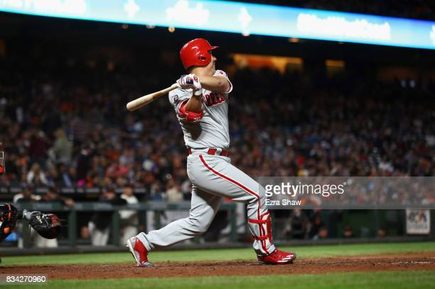 Hyun Soo Kim of the Philadelphia Phillies hits a single that scored Rhys Hoskins in sixth inning against the San Francisco Giants at ATT Park on...