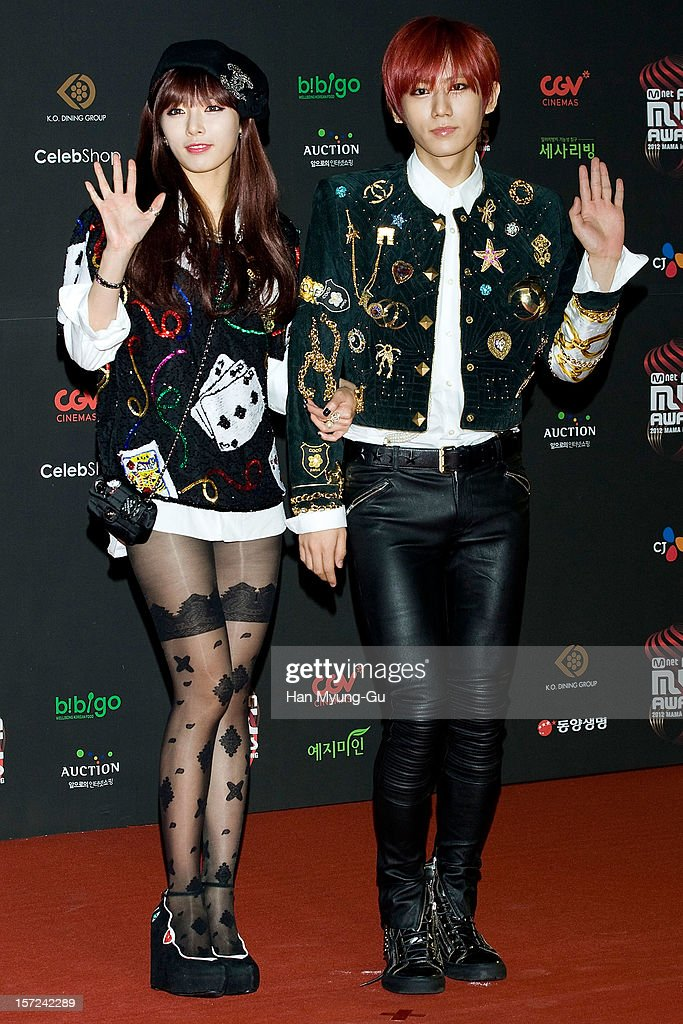 Hyuna of South Korean girl group 4minute and Hyunseung of South Korean boy band Beast attend during the 2012 Mnet Asian Music Awards Red Carpet on November 30, 2012 in Hong Kong, Hong Kong.