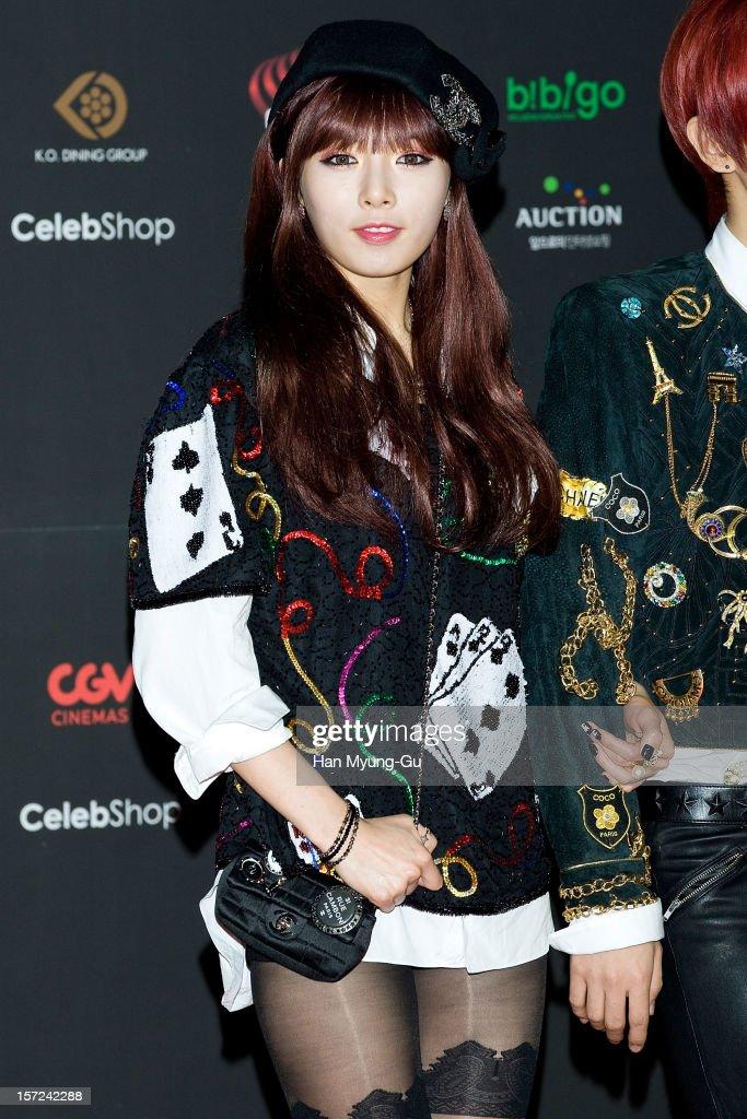 Hyuna of South Korean girl group 4minute attends the 2012 Mnet Asian Music Awards Red Carpet on November 30, 2012 in Hong Kong, Hong Kong.