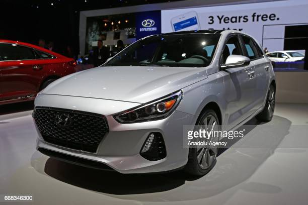Hyundai Elantra is displayed at the New York International Auto Show in New York City United States on April 13 2017