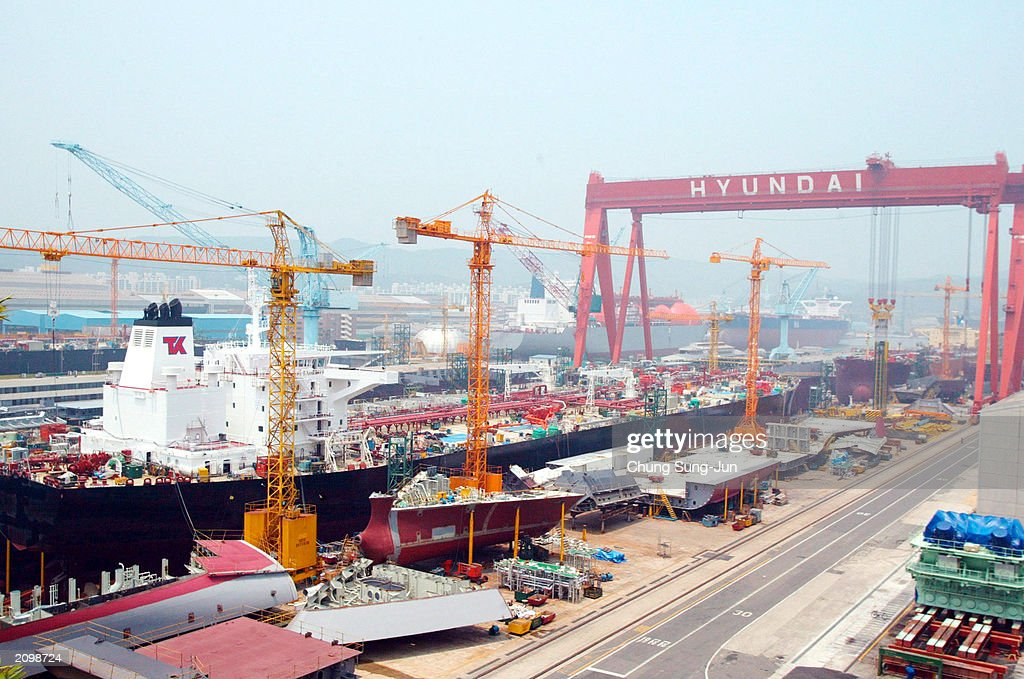 Hyundai Heavy Industries shipyard is seen June 20 2003 in Ulsan south of Seoul South Korea The World's largest shipbuilder Hyundai Heavy Industries...