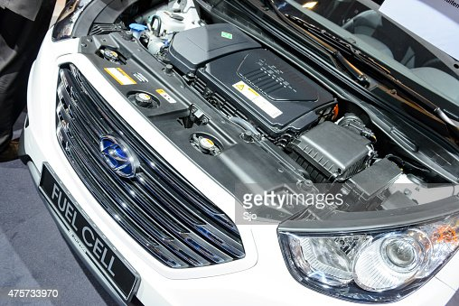 hyundai ix35 fuel cell crossover suv engine stock photo getty images. Black Bedroom Furniture Sets. Home Design Ideas