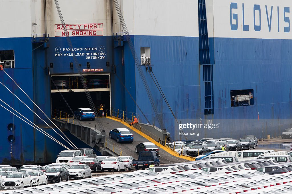 Hyundai motor co vehicles bound for export are driven into a hyundai