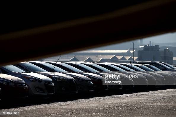 Hyundai Motor Co vehicles bound for export await shipment at a port near the company's plant in Ulsan South Korea on Thursday Jan 23 2014 Hyundai...
