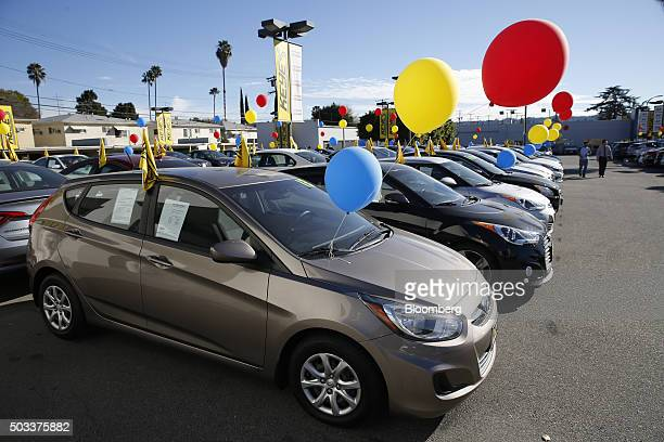 Hyundai Motor Co vehicles sit on display for sale on the lot of the Keyes Hyundai dealership in the Van Nuys neighborhood of Los Angeles California...