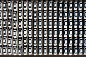 Hyundai Motor Co vehicles sit parked at a delivery center at the company's factory in this aerial photograph taken in Asan South Korea on Tuesday Jan...