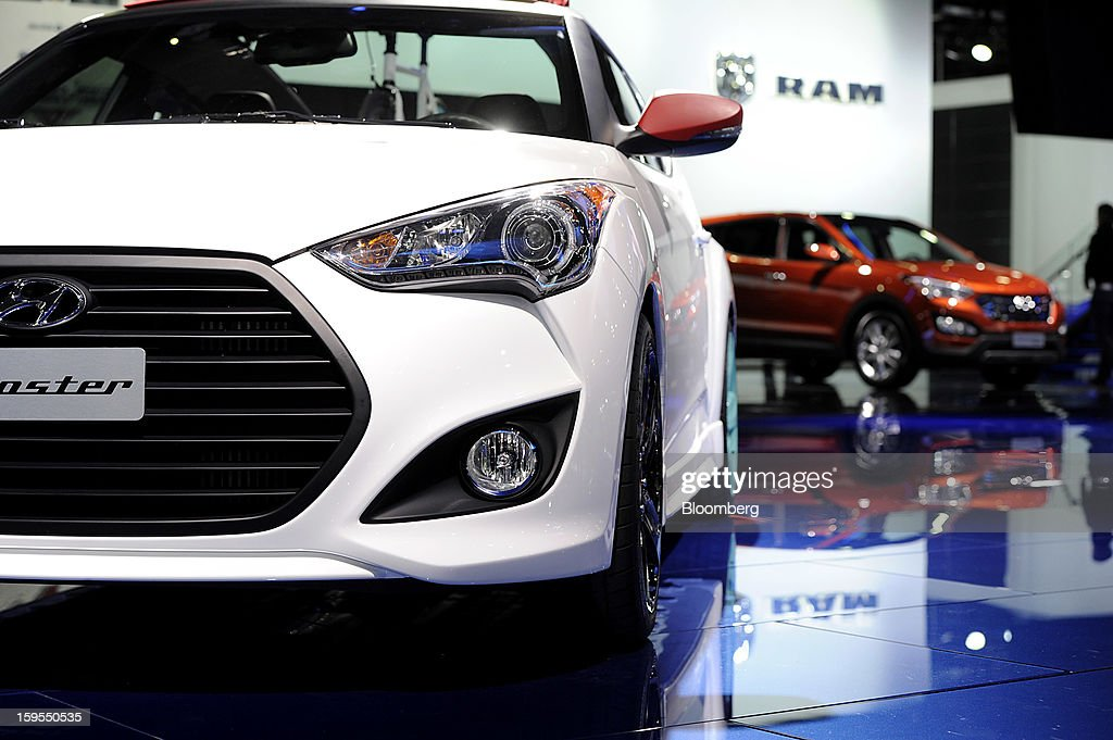 A Hyundai Motor Corp. vehicle is displayed during the 2013 North American International Auto Show (NAIAS) in Detroit, Michigan, U.S., on Tuesday, Jan. 15, 2013. The Detroit auto show runs through Jan. 27 and will display over 500 vehicles, representing the most innovative designs in the world. Photographer: David Paul Morris/Bloomberg via Getty Images