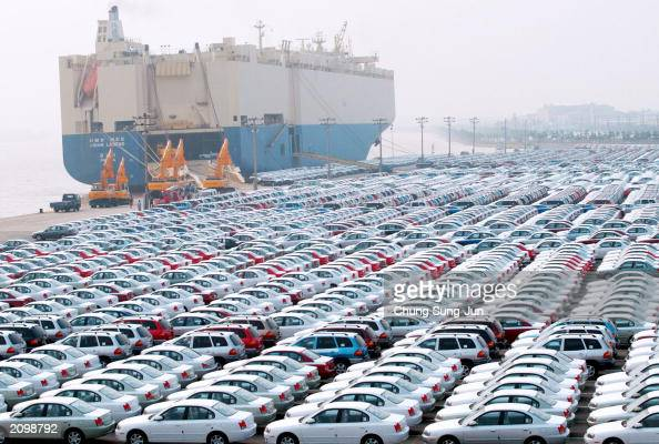 Hyundai Motors cars wait for shipping at the port June 20 2003 in Ulsan south of Seoul South Korea Founded in 1961 Hyundai Motor has scaled numerous...