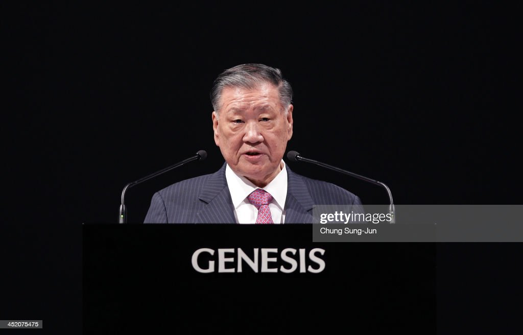Hyundai Motor's chairman Chung MongKoo speaks during the unveiling ceremony for the new Genesis at the Grand Hyatt Hotel on November 26 2013 in Seoul...