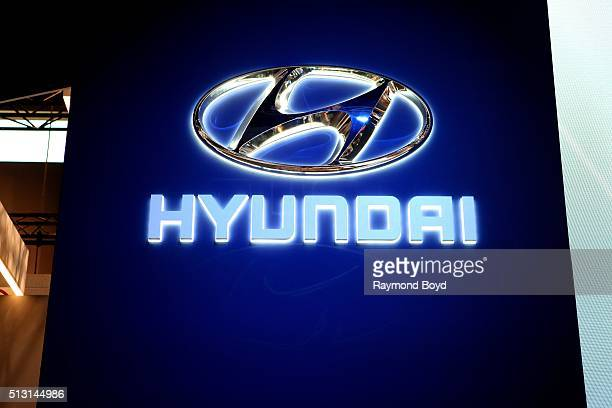 Hyundai signage is on display at the 108th Annual Chicago Auto Show at McCormick Place in Chicago Illinois on February 19 2016