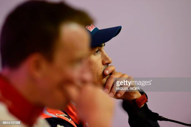 Hyundai's WRC Spanish pilot Dani Sordo smiles during a press conference in Matosinhos on May 18 on the eve of the start of Portugal WRC Rally / AFP...