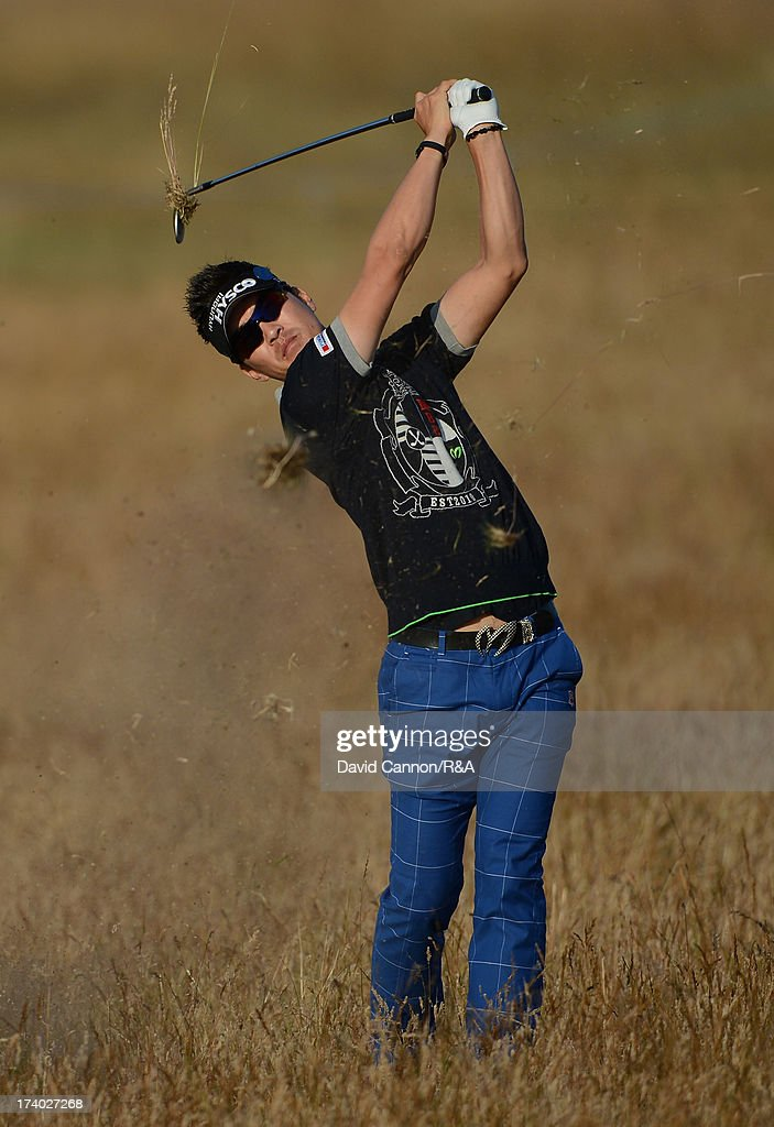 Hyung-Sung Kim of Korea plays his second shot on the 15th hole during the second round of the 142nd Open Championship at Muirfield on July 19, 2013 in Gullane, Scotland.
