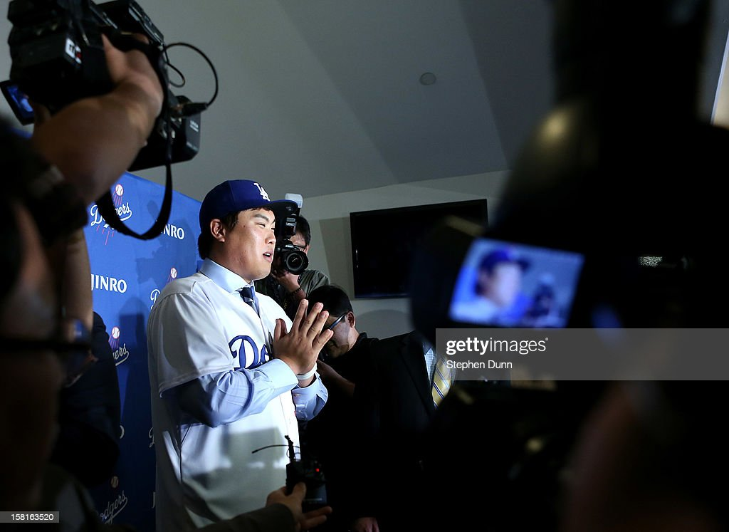 Hyun-Jin Ryu addresses the media at a press conference introducing him following his signing with the Los Angeles Dodgers at Dodger Stadium on December 10, 2012 in Los Angeles, California.