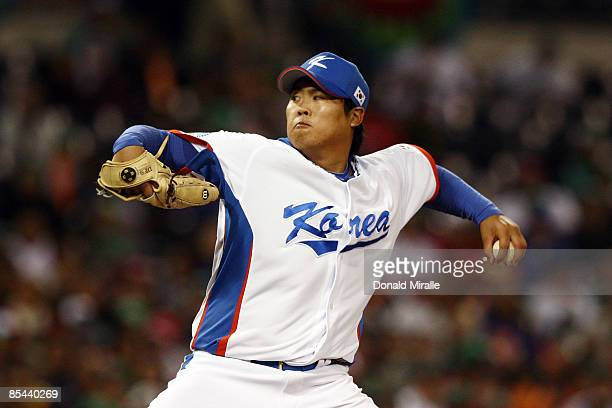 Hyunjin Ryu of Korea pitches against Mexico during the 2009 World Baseball Classic Round 2 Pool 1 match on March 15 2009 at Petco Park in San Diego...