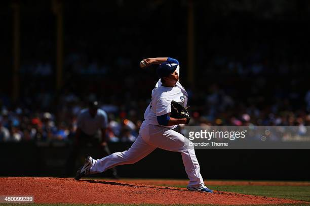HyunJin Ryu of the Dodgers pitches during the MLB match between the Los Angeles Dodgers and the Arizona Diamondbacks at Sydney Cricket Ground on...