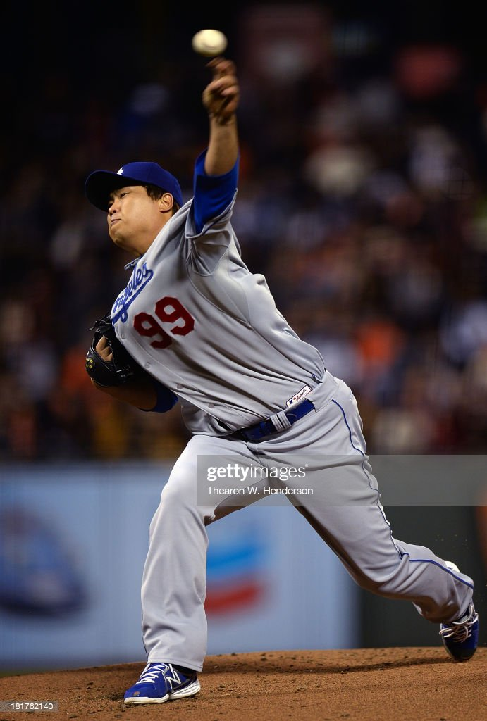 Hyun-Jin Ryu #99 of the Los Angeles Dodgers pitches against the San Francisco Giants at AT&T Park on September 24, 2013 in San Francisco, California.
