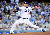 HyunJin Ryu of the Los Angeles Dodgers pitches to the San Diego Padres during the first inning at Dodger Stadium on July 7 2016 in Los Angeles...