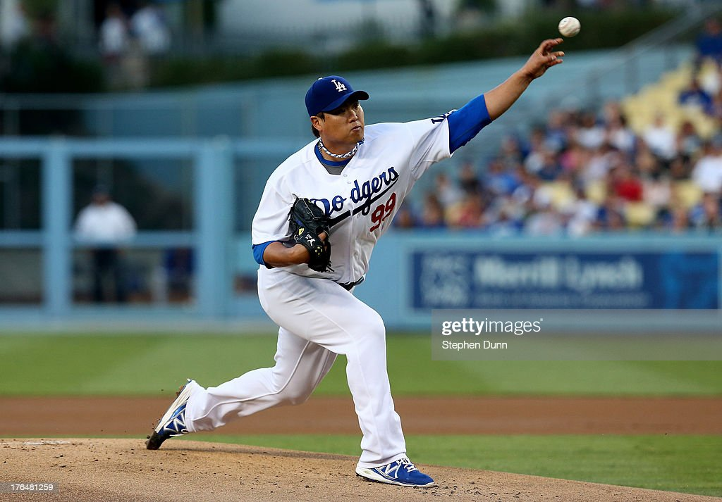 Hyun-Jin Ryu #99 of the Los Angeles Dodgers throws a pitch against the New York Mets at Dodger Stadium on August 13, 2013 in Los Ang eles, California.