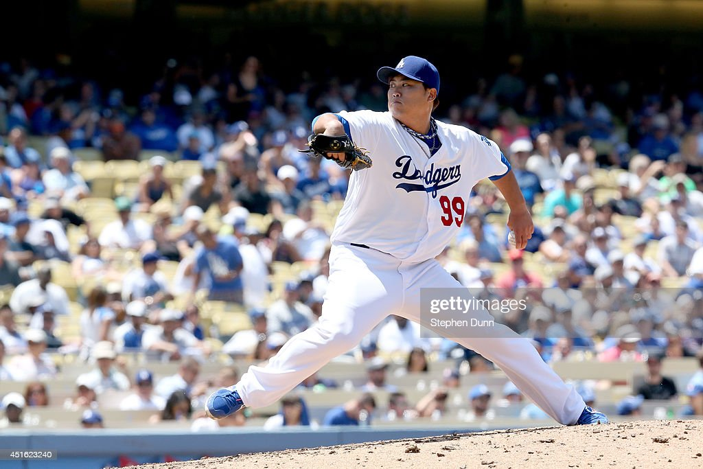 Hyun-Jin Ryu #99 of the Los Angeles Dodgers throws a pitch against the Cleveland Indians at Dodger Stadium on July 2, 2014 in Los Angeles, California.
