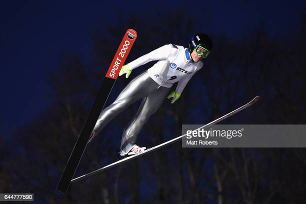 HyunKi Kim of Korea competes in the men's ski jumping large hill individual on day seven of the 2017 Sapporo Asian Winter Games at Okurayama Ski Jump...