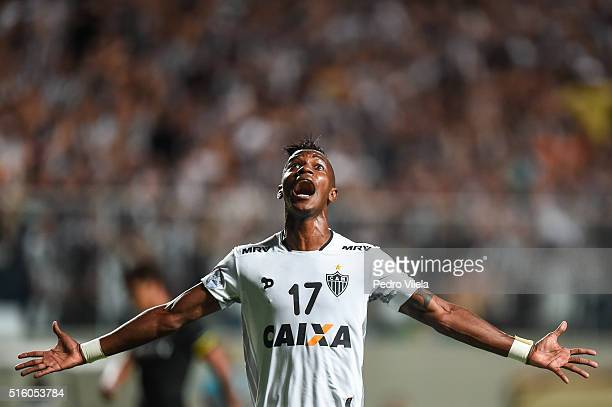 Hyuri of Atletico MG celebrates a scored goal against Colo Colo during a match between Atletico MG and Colo Colo as part of Copa Bridgestone...