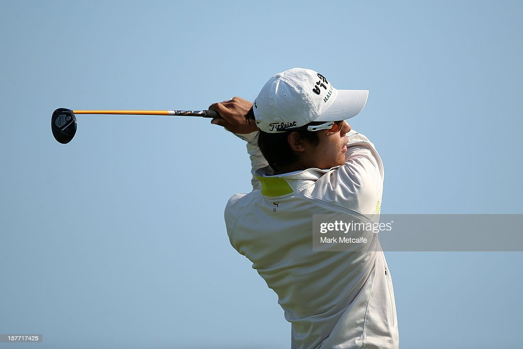 Hyu-Won Park of Korea plays a shot during round one of the 2012 Australian Open at The Lakes Golf Club on December 6, 2012 in Sydney, Australia.