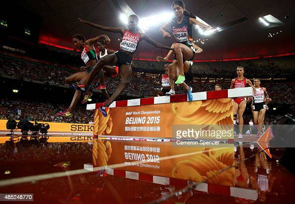 Hyvin Kiyeng Jepkemoi of Kenya on her way to winning gold in the Women's 3000 metres steeplechase final during day five of the 15th IAAF World...