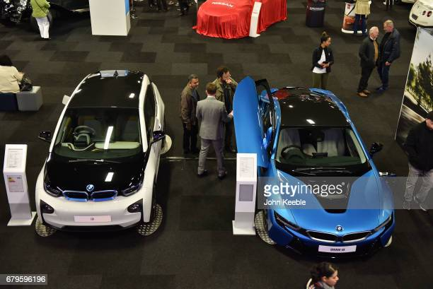 BMW i3 and a BMW i8 on display at the London Motor Show at Battersea Evolution on May 4 2017 in London England 41 dealerships and manufacturers will...