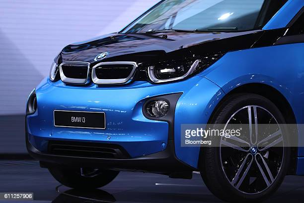 A BMW i3 electric automobile produced by Bayerische Motoren Werke AG sits on display during the first press day of the Paris Motor Show at Porte de...