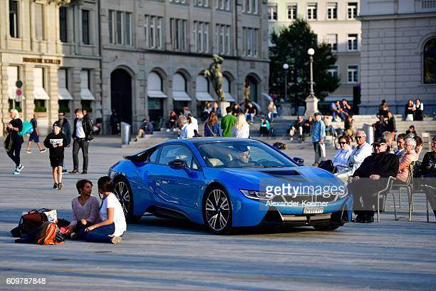 BMW i8 drives on the Sechselaeutenplatz place during the 12th Zurich Film Festival on September 22 2016 in Zurich Switzerland The Zurich Film...