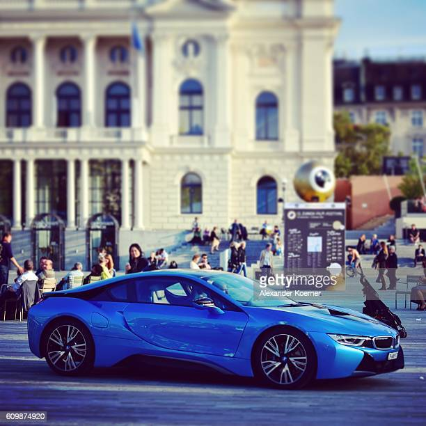 A BMW i8 drives on the Sechselaeutenplatz place during the 12th Zurich Film Festival on September 22 2016 in Zurich Switzerland The Zurich Film...