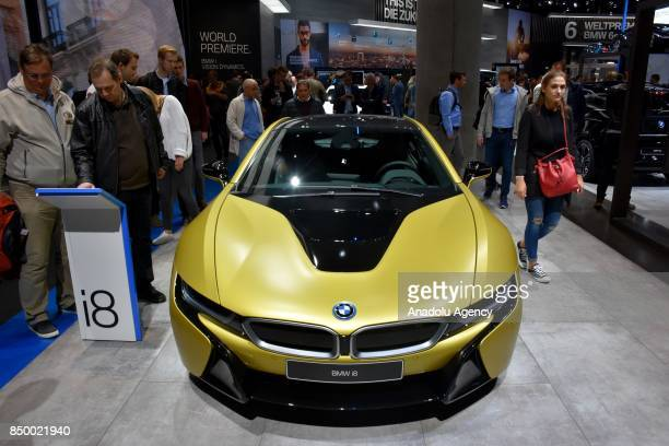 BMW i8 is displayed at the 67th International Frankfurt Motor Show in Frankfurt Germany on September 20 2017 Approximately one thousand companies...