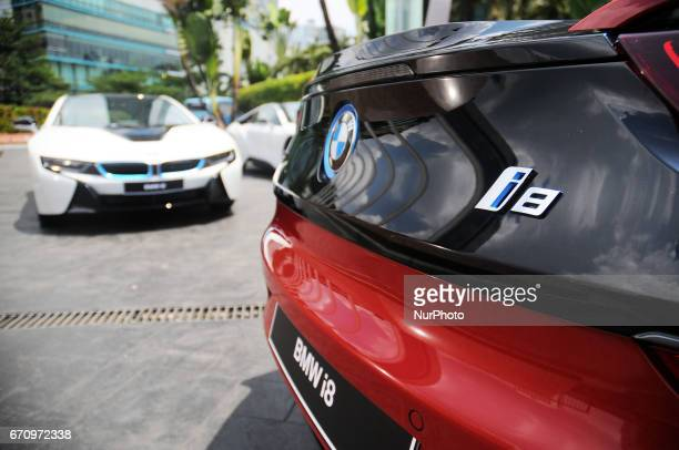 A BMW i8 is seen on the street in Jakarta Indonesia on April 20 2017 BMW i8 Protonic Red Edition is the only unit in Indonesia will be submitted to...