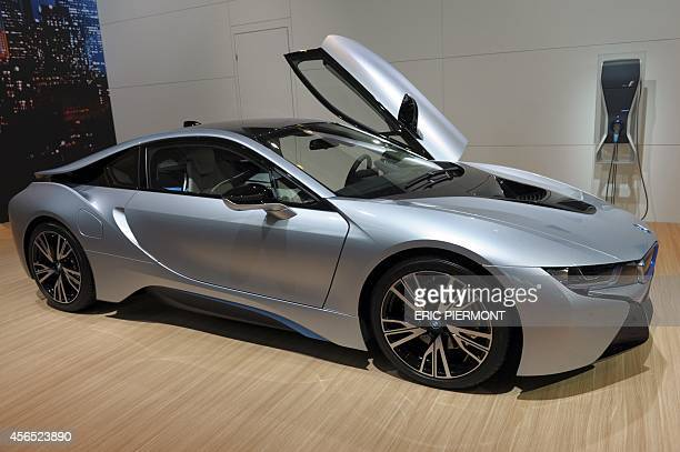 A BMW i8 'Pure Impulse' is presented at the Paris Auto Show on October 2 2014 on the first of the two press days AFP PHOTO/ERIC PIERMONT