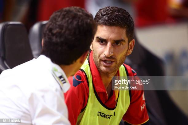 Iacopo La Rocca of Adelaide United speaks to coach Guillermo Amor after the round 19 ALeague match between Adelaide United and Perth Glory at Coopers...