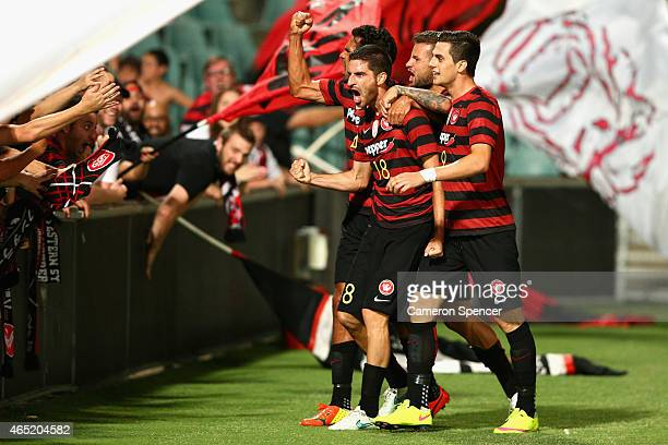 Iacopo La Rocca of the Wanderers celebrates scoring a goal with team mates during the Asian Champions League match between the Western Sydney...
