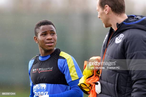 IAdemola Lookman and Duncan Ferguson during the Everton FC training session at USM Finch Farm on March 30 2017 in Halewood England