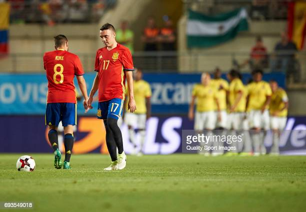Iago Aspas and Jorge Resurreccion Koke of Spain reacts after the second goal of Colombia during the international friendly match between Spain and...