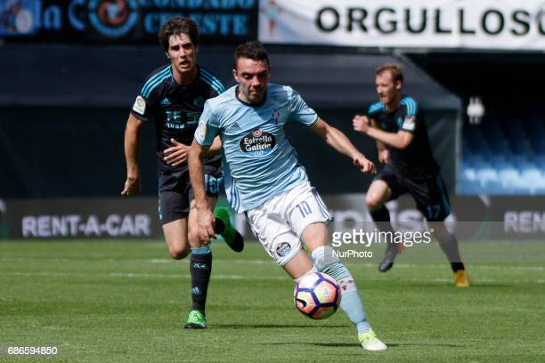 Iago Aspas forward of Celta de Vigo controls the ball during the La Liga Santander match between Celta de Vigo and Real Sociedad de Futbol at...