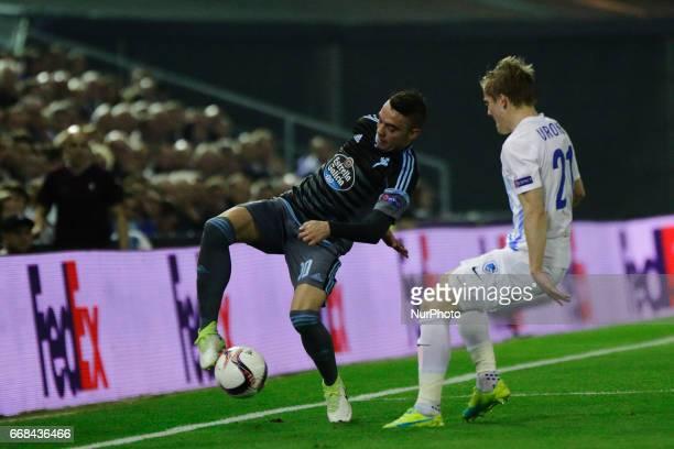 Iago Aspas forward of Celta de Vigo controls the ball during the UEFA Europe League Round of 4 first leg match between Celta de Vigo and KRC Genk FC...