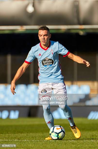 Iago Aspas of Celta de Vigo in action during the Pre Season Friendly match between Celta de Vigo and Udinese Calcio at Balaidos Stadium on August 9...