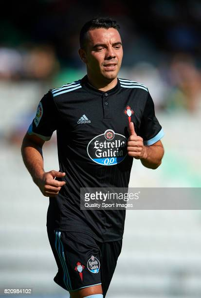 Iago Aspas of Celta de Vigo looks on during the preseason friendly match between Celta de Vigo and Sporting de Gijon at A Malata Stadium on July 22...