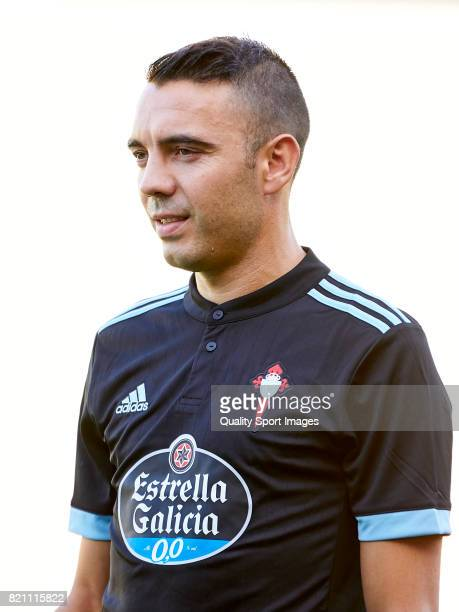 Iago Aspas of Celta de Vigo looks on prior to the preseason friendly match between Celta de Vigo and Sporting de Gijon at A Malata Stadium on July 22...