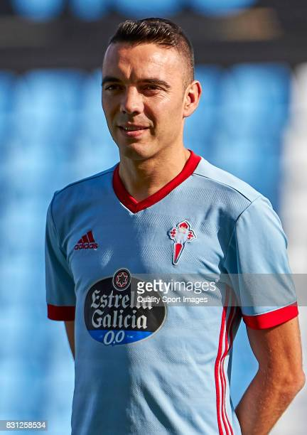 Iago Aspas of Celta de Vigo looks on prior to the preseason friendly match between Celta de Vigo and AS Roma at Balaidos Stadium on August 13 2017 in...